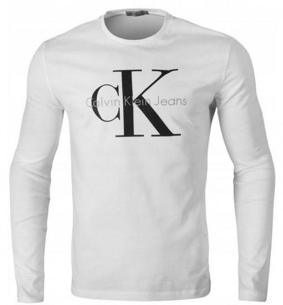 Pánské tričko Calvin Klein s dlouhým rukávem bílá