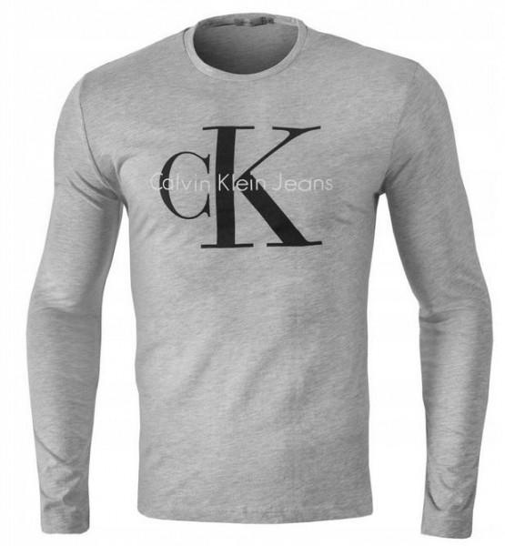 Pánské tričko Calvin Klein s dlouhým rukávem šedá