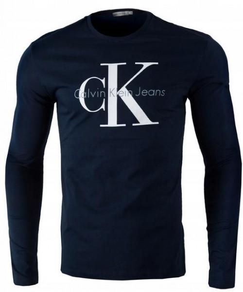 Pánské tričko Calvin Klein s dlouhým rukávem modrá (navy)
