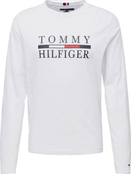Pánské tričko Tommy Hilfiger s dlouhým rukávem bílá