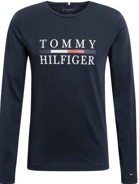 Pánské tričko Tommy Hilfiger s dlouhým rukávem modrá (navy)