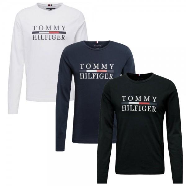 Pánská trička Tommy Hilfiger 3 pack s dlouhým rukávem bílá, černá, modrá (navy)