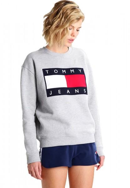 Dámská mikina Tommy Jeans bez kapuce šedá