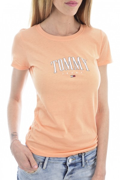 Dámské triko Tommy Jeans oranžové SCRIPT TEE