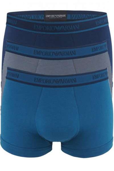 Boxerky Emporio Armani 3 pack - modrá / modrá / šedá