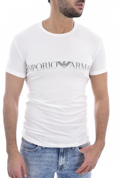 Pánské bílé stylové tričko Emporio Amani s logem