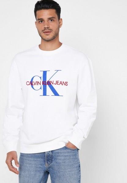 Pánská mikina Calvin Klein bílá bez kapuce