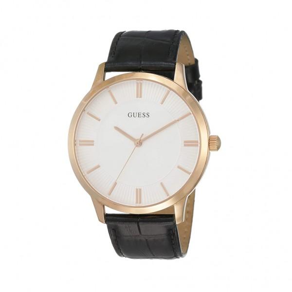 Guess stylové hodinky s koženým opaskem černé