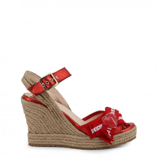 Červené boty na klínku Love Moschino dámské