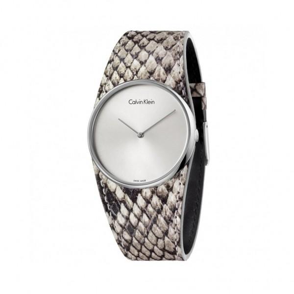 Šedé kožené Calvin Klein dámské hodinky