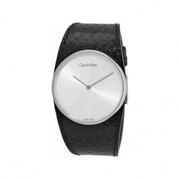 Černé kožené dámské hodinky Calvin Klein