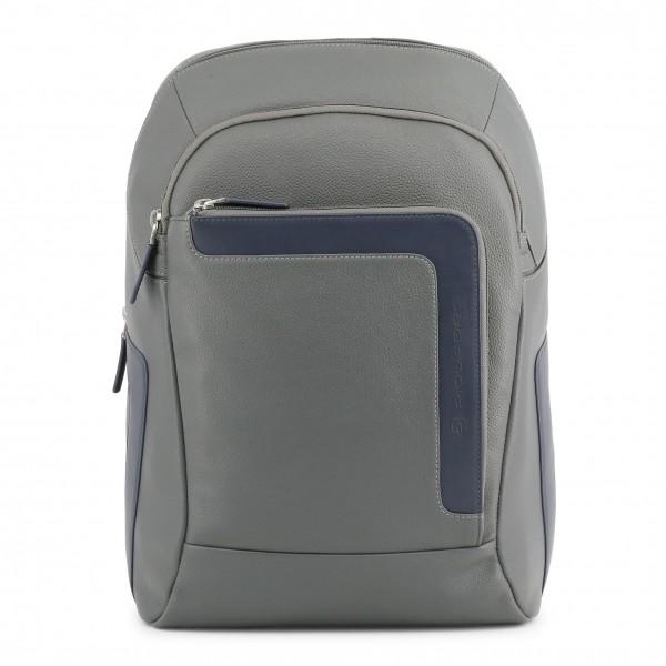 Šedý kožený Piquadro pánský batoh