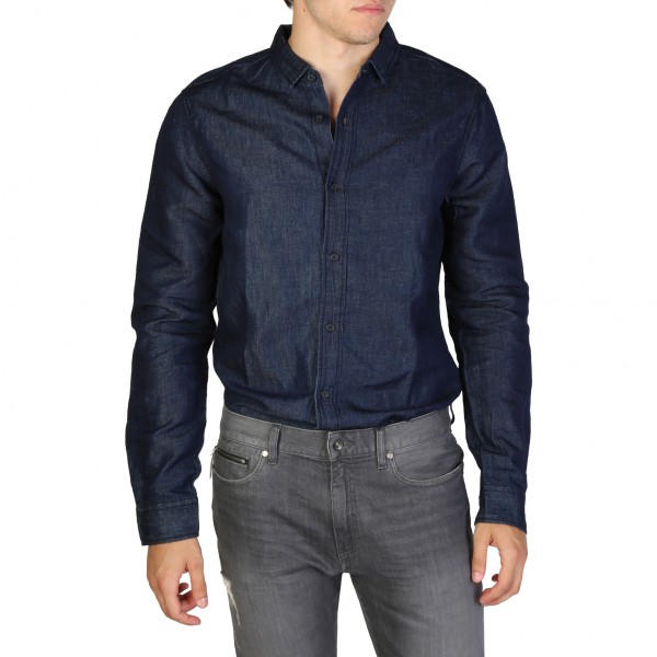 Armani Exchange modrá pánská košile dlouhý rukáv