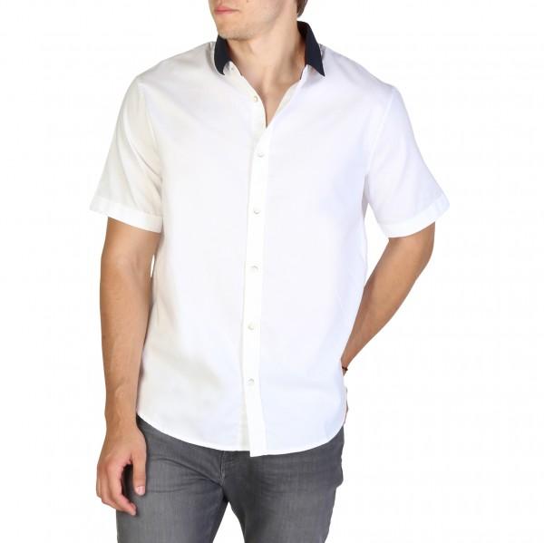 Bílá košile Armani Exchange pánská krátký rukáv
