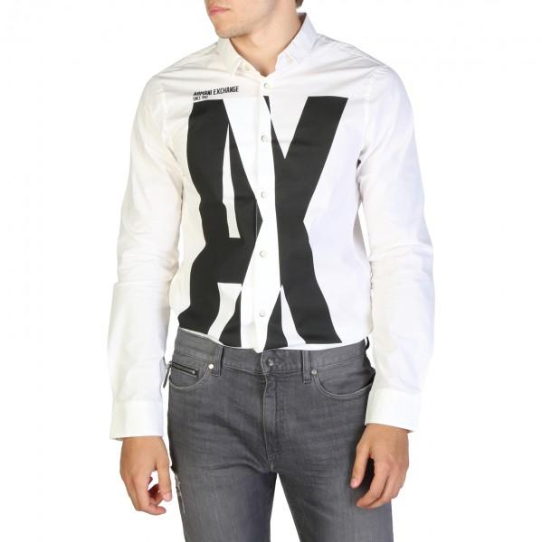 Bílá košile Armani Exchange s logem pánská
