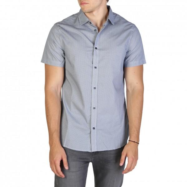 Modrá košile Armani Exchange pánská s krátkým rukávem