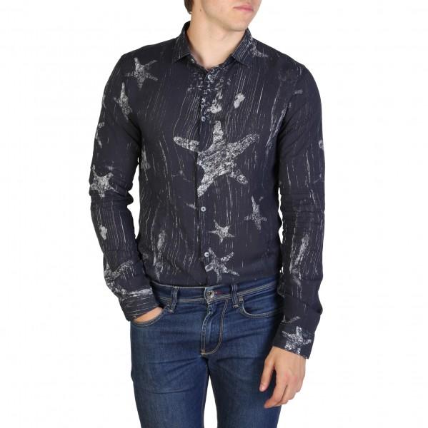 Modrá košile Armani Jeans pánská se vzorem