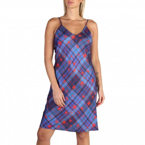 Modré kárované šaty Tommy Hilfiger na ramínkách