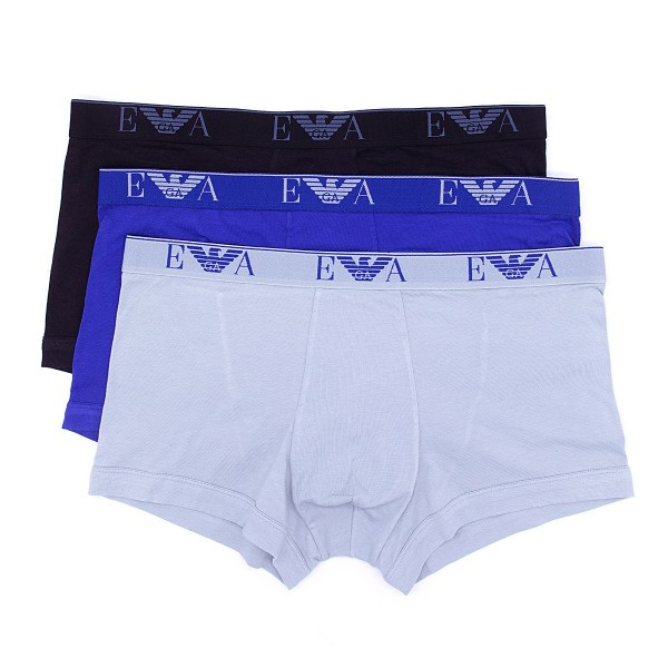 Boxerky Emporio Armani 3 pack - modrá, šedá, černá