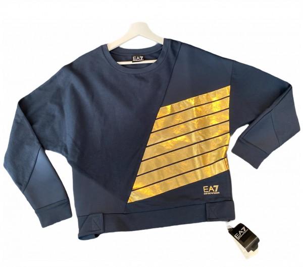 Dámská mikina Emporio Armani tmavě modrá se zlatým logem