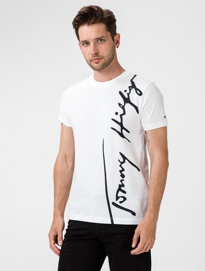 Pánské bílé triko s monogramem Tommy Hilfiger