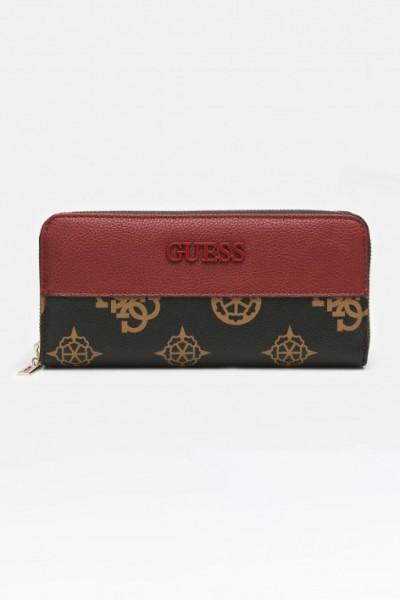 Dámská kožená peněženka GUESS, merlot multi