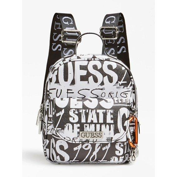 Černo-bílý batoh Guess s logem
